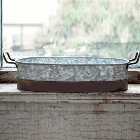 Galvanised Planters by Park Hill Collection Oblong Galvanized Planter Ze8148