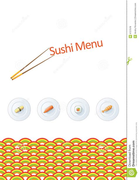 sushi menu template royalty free stock photos image 6727578