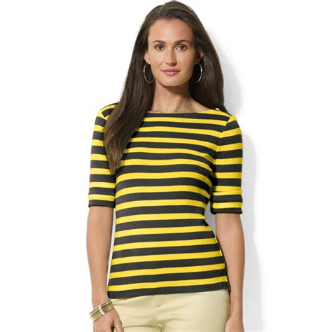 Yellow White Stripes Top lyst by ralph striped halfsleeve boatneck top in black