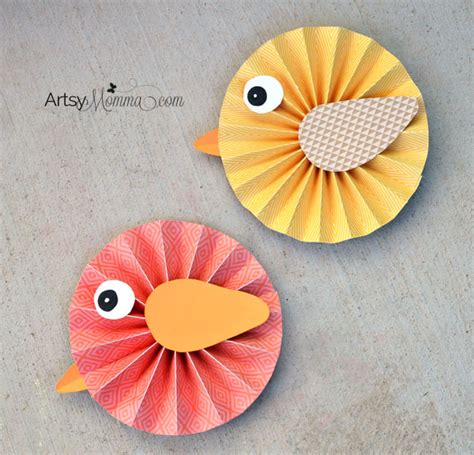 Paper Birds Craft - how to make paper rosette birds artsy momma