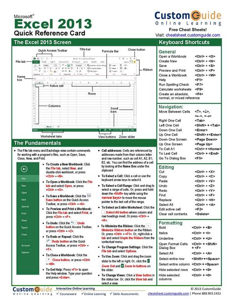 quick layout excel 2013 microsoft excel 2013 quick reference guide free tips and