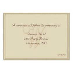 Reception Cards Template by W Monogram Beige Framed Reception Card Pack Of