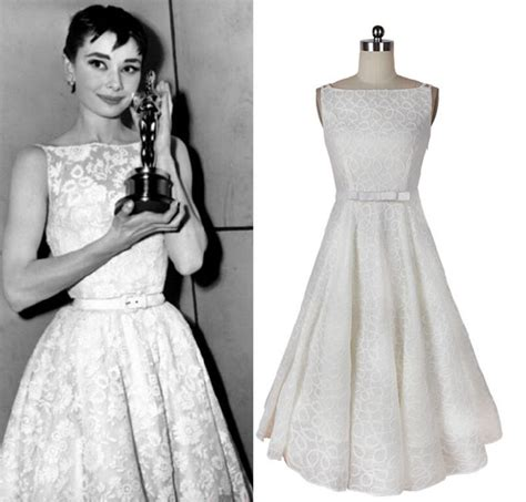 audrey hepburn gown vintage dress audrey hepburn style white a line bow belt