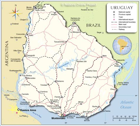 map of uruguay detailed map of uruguay nations project