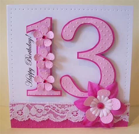 Pretty Handmade Cards - pretty pink 13th birthday by zoer cards and paper crafts