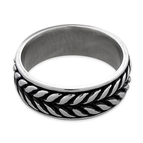 leaf pattern eternity ring stainless steel laurel leaf eternity pattern band ring