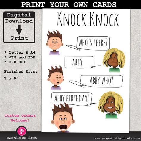 Printable Joke Birthday Cards | knock knock joke printable greeting card for kids