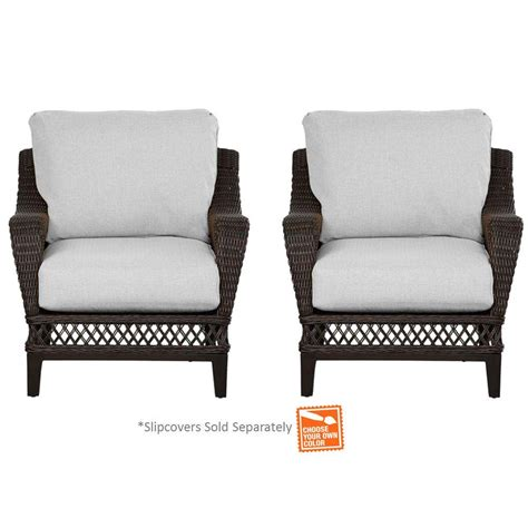 Patio Furniture Cushion Slipcovers Hton Bay Woodbury Patio Lounge Chair With Cushion Insert 2 Pack Slipcovers Sold Separately