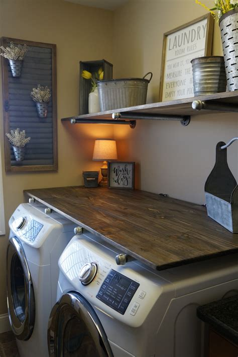 industrial shelves for a boy s room beneath my heart laundry room makevover for under 250 with diy rustic