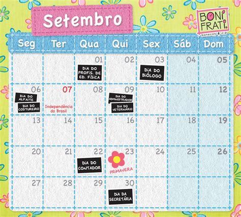 Calendario 7 De Setembro Bonifrati Calend 225 De Setembro M 234 S Das Flores