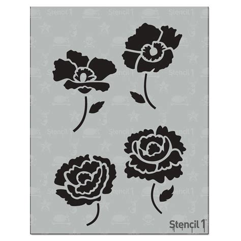 printable poppy stencils stencil1 peonies and poppies stencil s1 01 143 the home