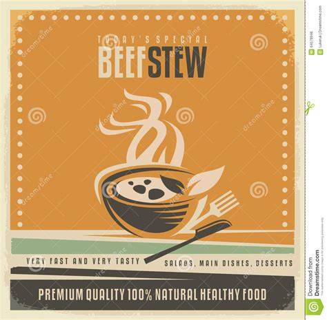 restaurant cover layout beef stew retro poster layout stock vector illustration
