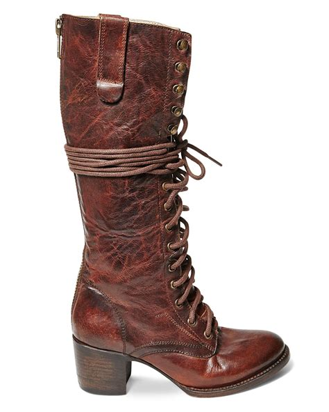 freebird boots freebird by steven grany lace up mid heel boots in brown