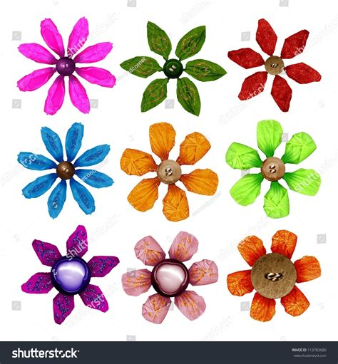 Handmade Crepe Paper Flowers - handmade crepe paper flowers stock photo 113783680