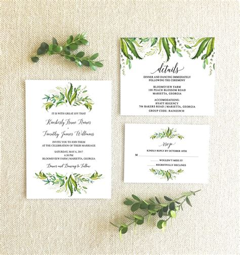 Paper Savy Wedding Invitations by Greenery Themed Wedding Invitations From Etsy The Budget
