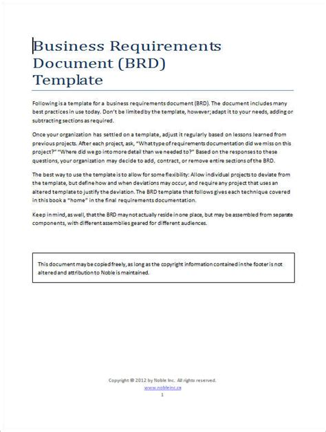 business document template 11 business requirements documents free premium