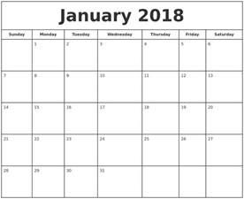 Calendar 2018 Print Free January 2018 Printable Calendar 2018 Calendar Printable