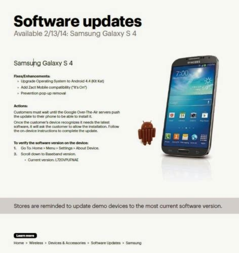sprint android update sprint samsung galaxy s4 android 4 4 kitkat update now rolling out unwired view