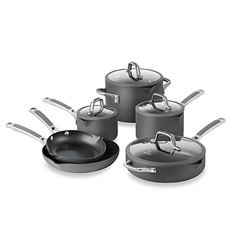bed bath and beyond pots and pans simply calphalon 174 easy system nonstick 10 piece cookware set and open stock bed