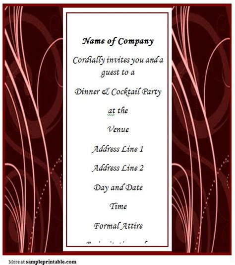 corporate dinner invitation template business dinner invitation printable business dinner