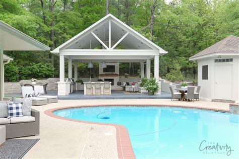 pool house with outdoor kitchen outdoor designs