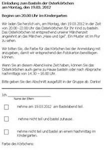 Muster Einladung Elternstammtisch Einladung Zum Basteln Der Osterk 246 Rbchen 19 03 2012 20 Uhr St Jakobus S Kindergarten