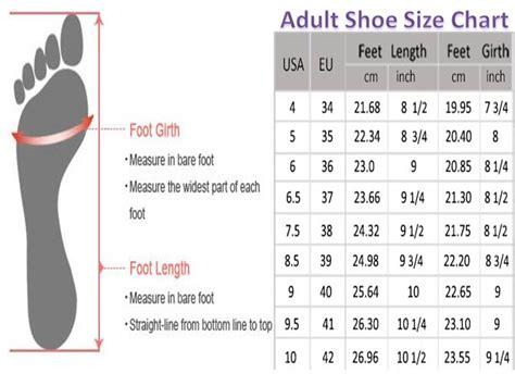 shoe chart size international