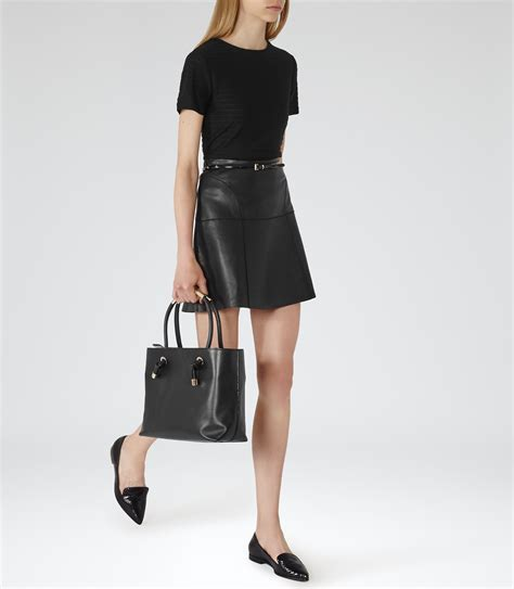cheya black leather a line mini skirt reiss