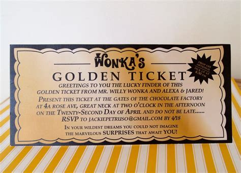 Golden Ticket Printable Template by Willie Wonka Golden Ticket Invitations Willy Wonka