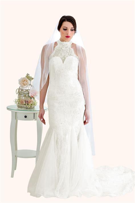 Wedding Dress Zara by Zara Lace High Neck Low Back Wedding Dress