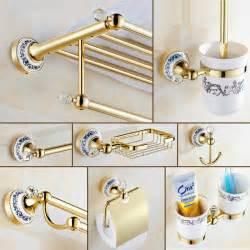 Antique Bathroom Accessories Sets Gold Antique Bathroom Accessories Set Ceramic Base Bathroom Hardware Set European Golden