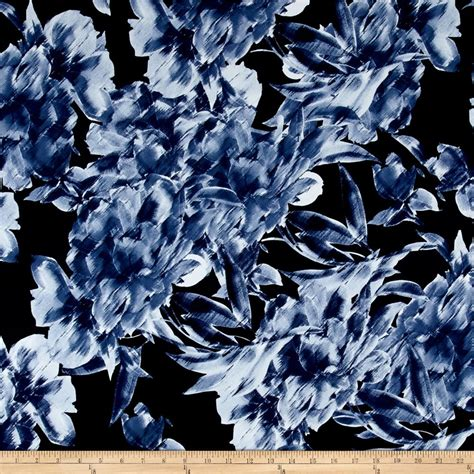 flower print fabric navy blue background blue white pink telio brazil stretch ity knit abstract floral print navy