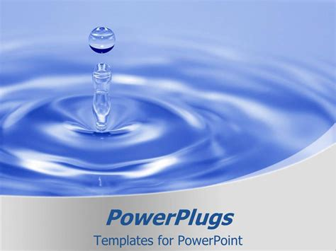 Water Powerpoint Template Powerpoint Template A Drop Of Water With Bluish Background 30818