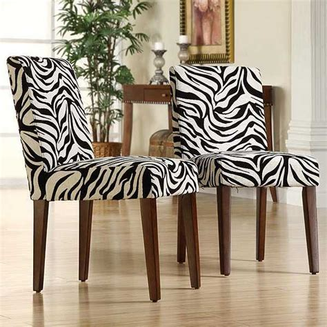 Zebra Print Dining Room Chairs | black and white dining room decorating with zebra prints