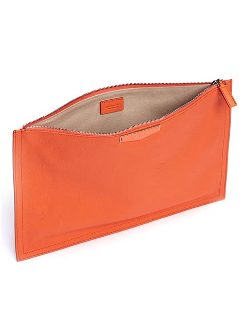 Pouch Givenchy Ori Leather lyst givenchy antigona leather flap zip pouch in orange