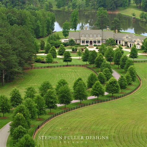 Aerial View Traditional Landscape Atlanta by Stephen Fuller Designs