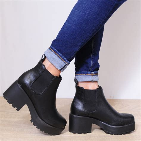 Chunky Heel Platform Ankle Boots black faux pu leather pull on elastic chunky heel