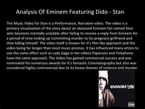 eminem stan lyrics analysis of eminem featuring dido stan