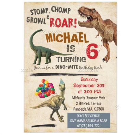 printable dinosaur invitation cards dinosaur birthday invitation template 30 free psd eps