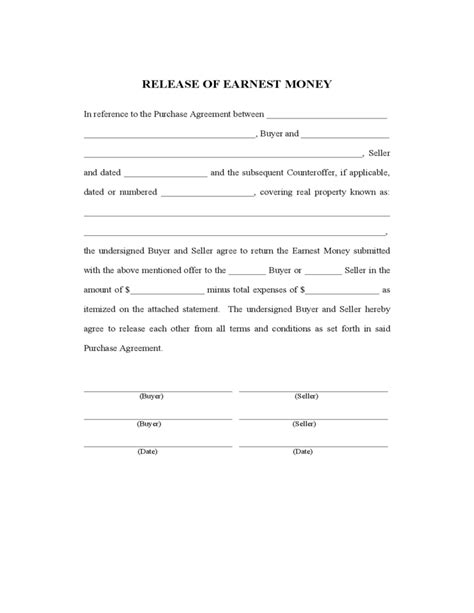 earnest money deposit agreement template release of earnest money free