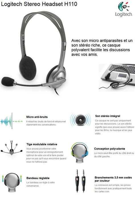 Headset Logitech H 110 Stereo Garansi 1 Tahun logitech st 233 r 233 o headset h110 981 000271 iris ma maroc