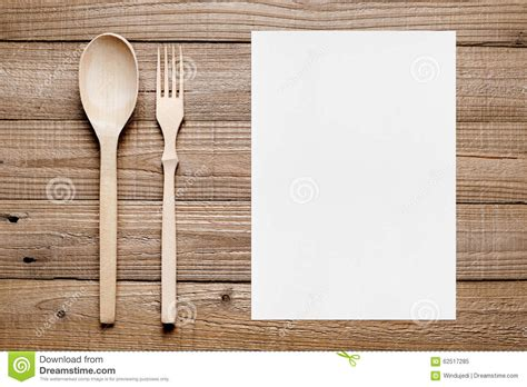 Fork Table And Inn Menu by Blank Menu And Wooden Fork And Spoon Stock Image Image