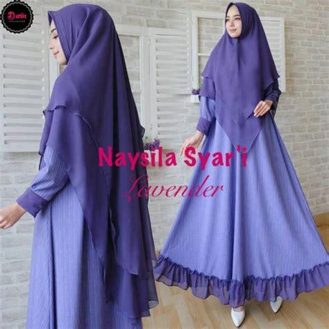 Gamis Syari Bilqis Blue Purple by Naysila Syar I Gamis Rubiah Premium Model Terbaru Butik