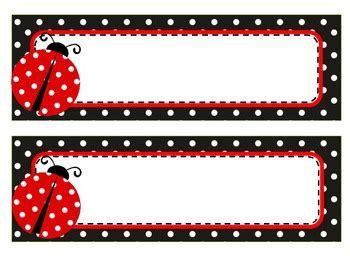 free printable ladybug name tags ladybug theme name tags and labels by elizabeth madrid tpt