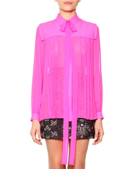 Pleated Blouse Pink msgm tie neck pleated blouse in pink lyst