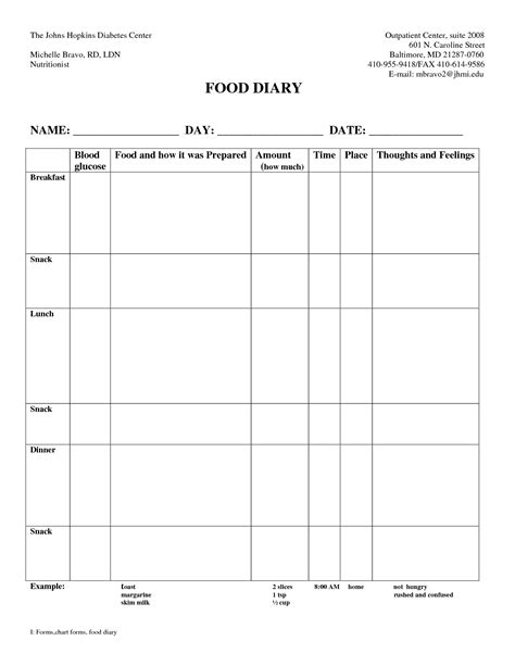 diabetic diary template 7 best images of 7 day diabetic food log printable
