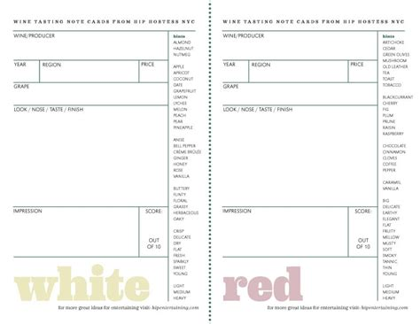 wine tasting cards templates hip hostess nyc how to host a wine tasting