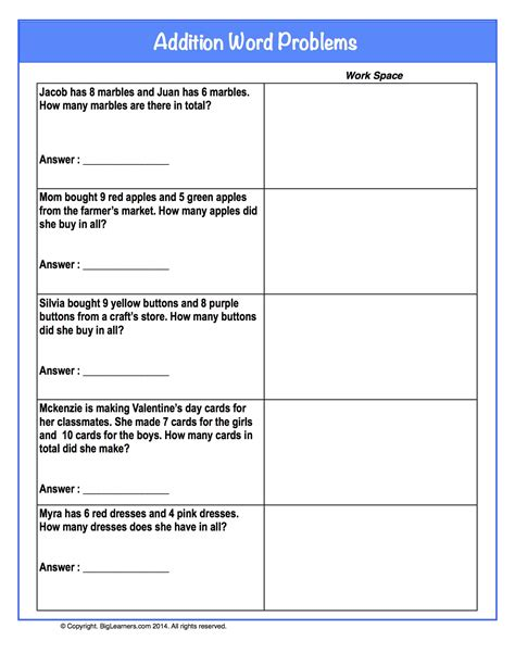 Work Word Problems Worksheet by Addition Word Problems Grade Math Worksheets