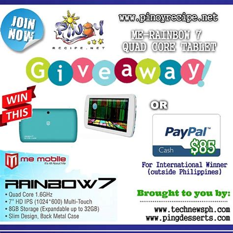 Free Android Tablet Giveaway - me rainbow 7 quad core android tablet giveaway filipino recipes portal
