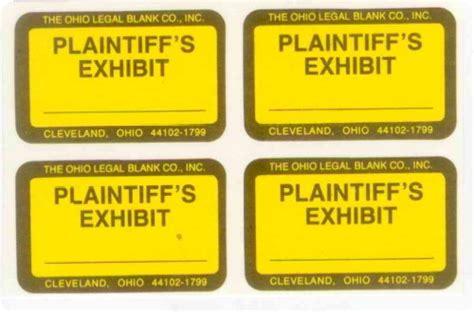 printable exhibit labels plaintiff exhibit stickers